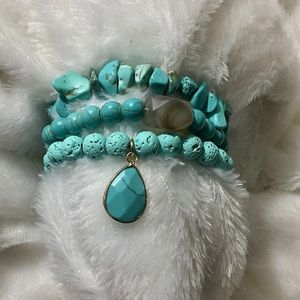 Stackable Turquoise Lava Bead Bracelet